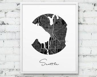 Seattle City Street Map Print. Seattle Urban Map Poster. Black & White Seattle Washington Map Print. Circle Poster Art Print. Printable Art