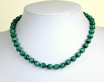 Malachite Necklace. 8mm Green Malachite Beads Necklace Hand Knotted. Genuine Natural Malakite Stone. MapenziGems