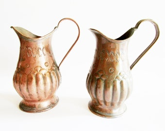 Set of 2 German Vintage Rustic Copper Watering Cans, Jug Pitchers or Flower Vases Handle Rustic Folk Art Home Decor