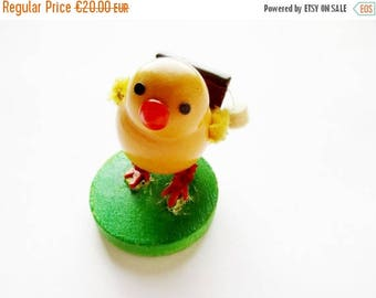 SPRING SALE - Rare German DDR Vintage Easter Erzgebirge Wooden Chick Schoolboy made in the 60ies
