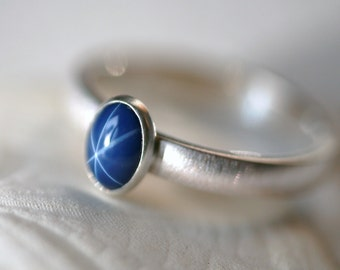 Medium Oval Blue Star Sapphire and Sterling Silver Ring