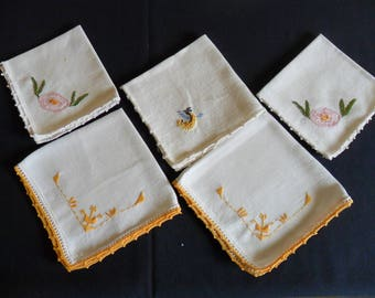 """5 individual linen napkins 8"""" and 12"""" tea napkins tea cup country cottage shaby chic"""