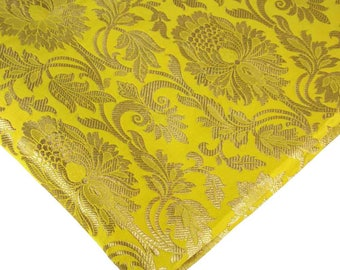 Lemon Yellow and Gold Brocade Fabric by the Yard - Dress Fabric, Banarasi Brocade, Silk Brocade, Brocade By the Yard - Indian Fabric