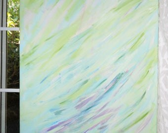 Mellow Mint Art, Mint Acrylic, Home Decor Mint, Blues Greens Violet, Peaceful Calm Painting, Home DecorLarge 24w x36 t, FromGlenToGlen
