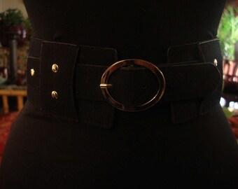 Boho 1990s Chic Black Suede Corst Waist Belt With Round Silver Buckle
