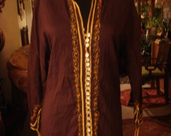 Vintage 1980s Boho Afghan Indian Chocolate Brown Dress