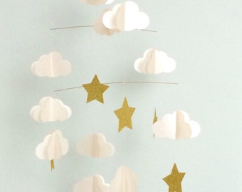Baby mobile, clouds and stars, iridescent white and glitter gold, baby shower, kids room