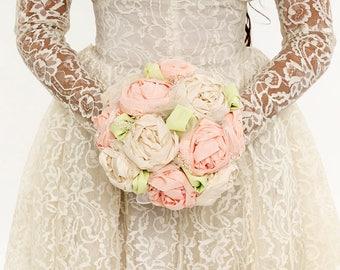 Wedding Bouquet Blush Peony Flowers Rustic Romance Lace Pink Shabby Chic Wedding Keepsake Alternative Bouquet Bridesmaid Bouquet