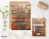 Rustic Fall Wedding Invitation Set in Fall wedding Colors, Fall Wedding Invite Wedding Stationery, Autumn Wedding Stationery, Fall Wedding