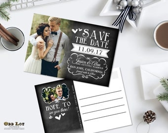 Chalkboard Save the Date Photo Postcard Rustic Wedding Cards, Wedding Announcement, Printable Save the Date, wedding printable Rustic