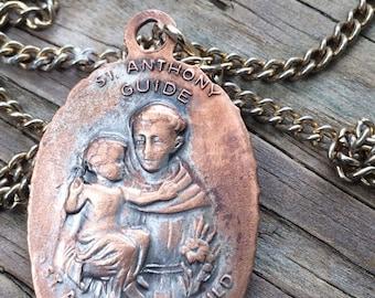 Vintage worn St. Anthony's Guild Lady Of The Highway Catholic 2 side Metal Pendant 1954 Saint Catholic Religious Necklace Gift Mom Nana Gift