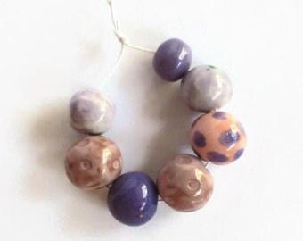 Artisan beads, Handmade Ceramic Beads, African beads, pink, purple beads, Clay beads, Artisan Beads, bead supplies, handmade supplies
