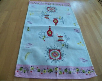 Vintage 1950's Cotton Kitchen Towel with Fabulous Retro Graphics in Pink and Red