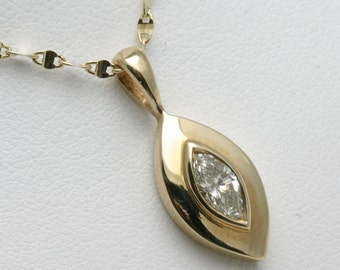 Vintage 14k yellow gold Marquise Diamond Pendant 1/2 carat bezel handmade