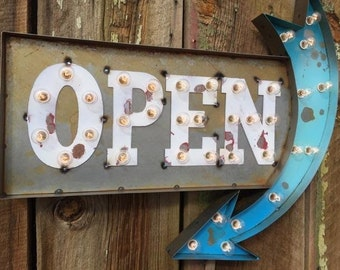 Large Metal Custom Lighted OPEN Sign with Arrow… Come in  Welcome Farmhouse BAR Love Shack   Me & You   Bakery