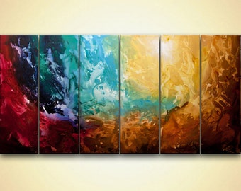 "Original earth Abstract Painting Huge Abstract Art Apollo 5  Acrylic art from Osnat 72""x36"" ready to ship ready to hang"