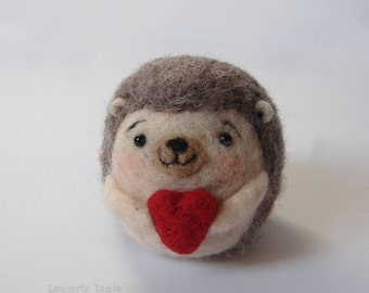 Needle felting Hedgehog with heart, Felted Hedgehog, Hanging ornament decoration
