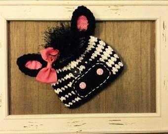 Zany the zebra crochet hat, photo prop