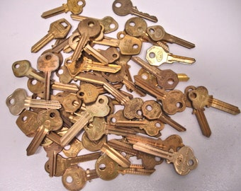 Vintage Lot 62 of Brass Keys Large Keys Craft Keys Altered Art Mix Media Steampunk Lot no. 59