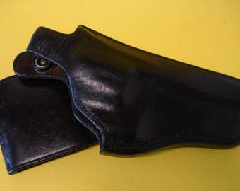 Black Leather Gun Holster Safariland #229--S & W Right Hand Police Or Military Holster