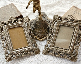 Antique French photo frames, ornate frames, pair of frames, matching frames, silver metal, Napoleon III era, 19th Century, French home decor