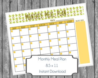 Monthly Meal Planner Printable -  Beach Party Palm Trees, Fill In Instant Download Digital Menu Planner, Home Organization