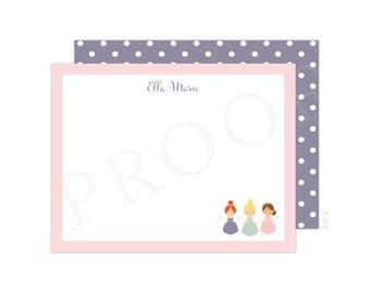 Personalized Princess Note Cards (Princess Birthday, Princess Thank You Card, Printable Thank You Card, Princess Party )