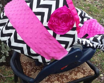 Black Chevron Stripe Rose hot pink minky baby car seat cover infant seat cover slip cover Graco fit or evenflo