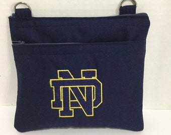 Notre Dame Purse - Cross Body Bag - City Purse - NHL Purse - NFL Purse - MLB Purse - Zippered Pouch - Travel Bag - Zippered Wallet -