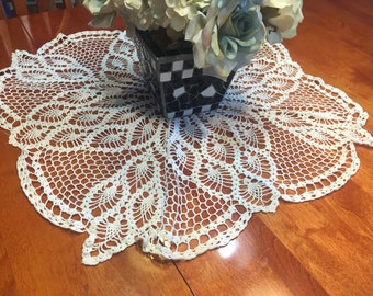 Vintage 30 inch White hand crochet doily for sewing, housewares, handbags, pillows, home decor by MarlenesAttic