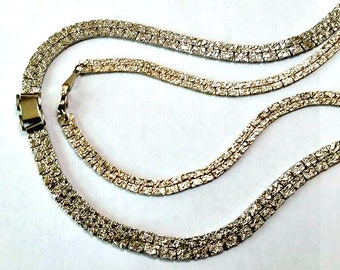 "2 Vintage NUGGET SERPENTINE NECKLACES Flat Gold Tone Vtg 80s 1980s Bling Costume Jewelry 56"" & 36"""