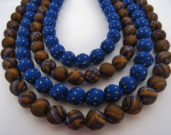 4 strands blue and brown necklace
