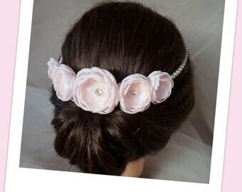 Pink Bridal crown pearl wreath, Bridesmaid head piece, Headband with handmade fabric flowers, Flower girl hair accessories Romantic Wedding