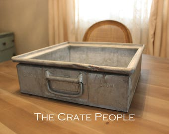 ZINC Industrial Bin with handles on both sides -  Industrial Factory Basket
