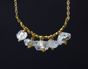 Herkimer Diamond Necklace. June Birthstone. 5 rough Herkimer Diamonds on a Gold Filled or Sterling Silver chain. NS-1925