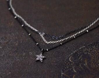 Star Choker. Pave Diamond Star Necklace. Multi Chain Choker. Tiny Star Necklace. Black Diamond Necklace. NCC-2349
