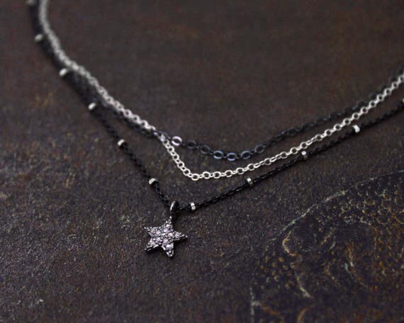 Star Choker. Pave Diamond Star Necklace. Multi Chain Choker. Tiny Star Necklace. Black Diamond Necklace. NCC-2349