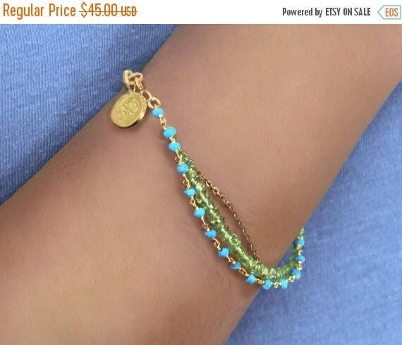 20% off. Multi Strand Bracelet. Turquoise and Peridot Birthstone Bracelet  Available in Sterling silver or Gold Fill.