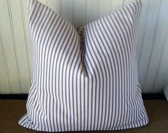 Blue Ticking Pillow - SALE - Beach Cottage Pillows - 20 x 20 Pillow Cover - Fully Lined Pillow - Blue Ticking -  Beach Decor