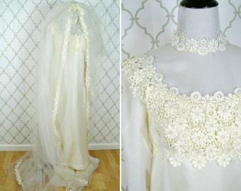 Vintage 1960's Wedding Dress - Empire Waist Satin Wedding Gown - High Neck Flower child Dress - Ladies Size Small