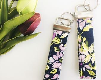 Wristlet - Keychain - Wrist Strap - Floral Keychain - Navy Keychain - Wristlet Keychain - Fabric Key Fob