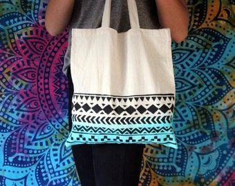 Blue Dip Dye Tote Bag with a Hand Painted Tribal Aztec Design