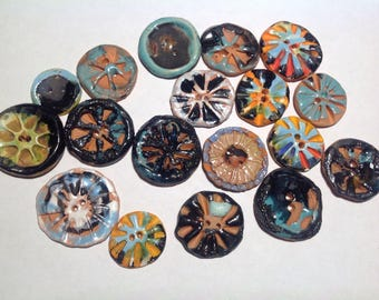 18 Pottery Buttons, Handmade, Rustic, 28mm, 38mm, Medium, Terra Cotta, 2 Holes, Modern, Red, Aqua, Periwinkle, Black, Assemblage, Art, OOAK