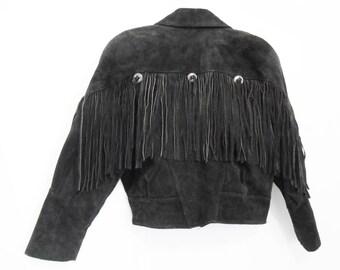 Southwestern Jacket/ Fringe Jacket/ Biker Jacket/ 80s Leather Jacket/ Motorcycle Jacket/ Suede Fringe Jacket/ Southwestern Coat/ Fringe Coat
