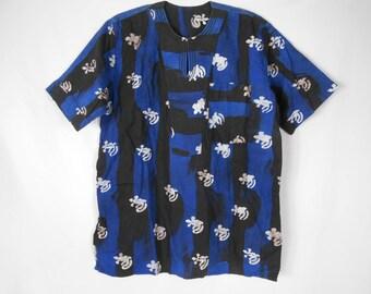 African Print Shirt/ African Shirt/  Blue Tunic/ Ethnic Shirt/ Ankara Blouse/ African Fashion/ African Tops/ African Tunic/ Adinkra/ Tribal