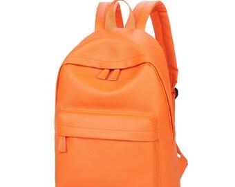 Basic Synthetic Leather Backpack (Orange)