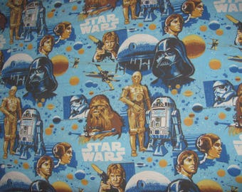 Vintage Star Wars - A New Hope Twin Flat Sheet - Blue Background with Luke, Leia, Han, C3P0, R2D2, Chewie, Vader, Death Star - (#2)