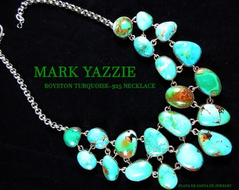 MARK YAZZIE~Outstanding~BOLD~Gem Quality~Royston Turquoise~925 Collar Cluster Necklace~Free Shipping!