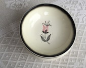 Stetson Hand Painted Berry Bowls / Vintage Pink and Black Mid Century Pottery / Tulip Pattern Bowls Made in USA