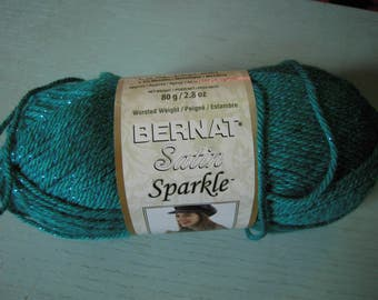 Bernat Satin Sparkle Yarn OVERSTOCK - 160 Yards Emerald Sparkle